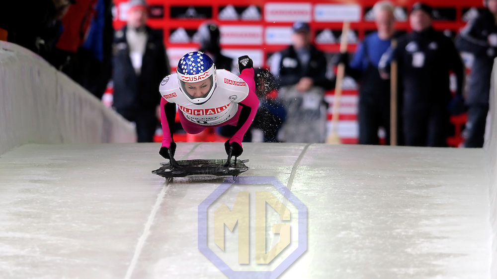 26 February 2007:  Noelle Pikus-Pace of the United States in competition at the Women's Skeleton World Championships competition on February 26 at the Olympic Sports Complex in Lake Placid, NY