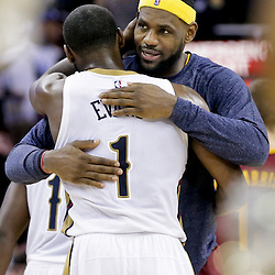 Dec 12, 2014; New Orleans, LA, USA; Cleveland Cavaliers forward LeBron James hugs New Orleans Pelicans forward Tyreke Evans (1) following a loss at the Smoothie King Center. The Pelicans defeated the Cavaliers 119-114. Mandatory Credit: Derick E. Hingle-USA TODAY Sports