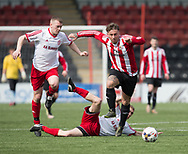 Steve Martin goes past two Dykehead defenders- Dundee Argyle v Dykehead AFC in the Scottish Sunday Trophy semi final at Excelsior Stadium, Airdrie, Photo: David Young<br /> <br />  - &copy; David Young - www.davidyoungphoto.co.uk - email: davidyoungphoto@gmail.com