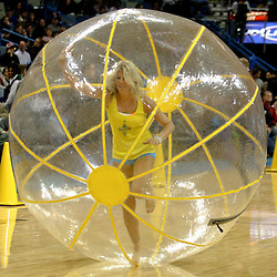 Dec 16, 2009; New Orleans, LA, USA; A New Orleans Hornets Honeybees dancer performs in the Honeybee Olympics during half time of a game between the New Orleans Hornets and the Detroit Pistons at the New Orleans Arena. Mandatory Credit: Derick E. Hingle-US PRESSWIRE