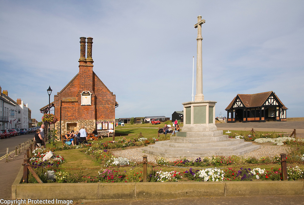 War memorial and the Moot Hall is an early sixteenth century building originally with small shops on the ground floor. The town council continues to meet in the upper floor and the building also houses a small museum. Aldeburgh, Suffolk, England
