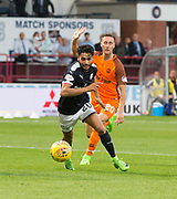 August 9th 2017, Dens Park, Dundee, Scotland; Scottish League Cup Second Round; Dundee versus Dundee United; Dundee's Faissal El Bakhtaoui races away from Dundee United's Jordie Briels