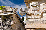 Puuc Style Decorative Carving of Chaac Rain God and Curved Nose on Corner of The Nunnery Monjas Building, Chichen Itza Toltec Maya Ruins, Yucatan Peninsula, Mexico 2007 NR
