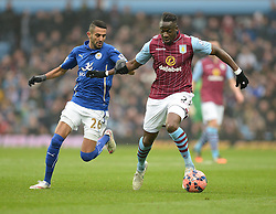 Aston Villas Aly Cissokho battles for the ball with Leicester City's Riyad Mahrez - Photo mandatory by-line: Alex James/JMP - Mobile: 07966 386802 - 15/02/2015 - SPORT - Football - Birmingham - Villa Park - Aston Villa v Leicester City - FA Cup - Fifth Round