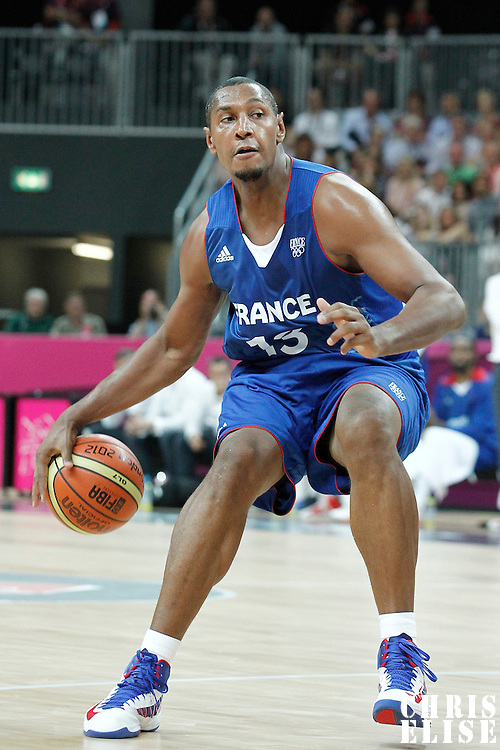29 July 2012: Boris Diaw of France is seen during the 98-71 Team USA victory over Team France, during the men's basketball preliminary, at the Basketball Arena, in London, Great Britain.