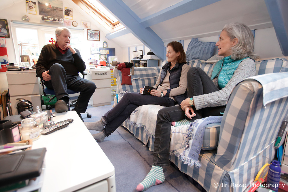 UK ENGLAND FOWEY 19FEB15 - Kits Browing, son of Daphne du Maurier during an interview with Isabelle Spaak (C) and Tatiana De Rosnay (R) at his house Ferryside in Fowey, Cornwall, England. <br /> <br /> Fowey, a small fishing and harbour village was the living place of famous English writer Daphne Du Maurier and many of her novels are based here.<br /> <br /> jre/Photo by Jiri Rezac<br /> <br /> &copy; Jiri Rezac 2015