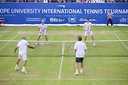 LIVERPOOL, ENGLAND - Sunday, June 21, 2015: Mansour Bahrami (IRN) and Jeremy Bates (GBR) take on Peter McNamara (AUS) and Richard Krajicek (NED) during Day 4 of the Liverpool Hope University International Tennis Tournament at Liverpool Cricket Club. (Pic by David Rawcliffe/Propaganda)