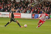 York City midfielder, on loan from Middlesbrough, Bryn Morris  and Accrington Stanley midfielder Piero Mingoia  during the The FA Cup match between Accrington Stanley and York City at the Fraser Eagle Stadium, Accrington, England on 7 November 2015. Photo by Simon Davies.