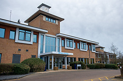 © Licensed to London News Pictures. 08/02/2020. Milton Keynes, UK. The reception entrance to the Kents Hill Park Training and Conference Centre. A Milton Keynes conference centre is to house evacuees from the Chinese city of Wuhan, the epicentre of the Novel Coronavirus (2019-nCoV) outbreak, the British citizens are due to be flown back on Sunday 9th February and are expected to land at RAF Brize Norton in Oxfordshire and will remain at the Kents Hill Park Training and Conference Centre for 14 days to be monitored. Photo credit: Peter Manning/LNP