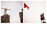 SX: Shkodër - Kreshnik (19), call center operator on the walls of Shkodër Castle. DX: Tirana - The flag with the eagle-faced, and the statue of George Castriota Skanderbeg and Albanian leader (Gjergj Kastrioti Skenderbeu)