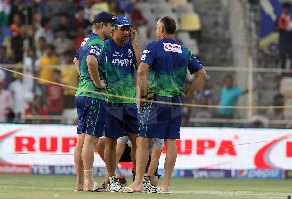 Rajasthan Royals captain Shane Watson, Rajasthan Royals mentor Rahul Dravid and Rajasthan Royals coach Paddy Upton before the start of the match 22 of the Pepsi IPL 2015 (Indian Premier League) between The Rajasthan Royals and The Royal Challengers Bangalore held at the Sardar Patel Stadium in Ahmedabad , India on the 24th April 2015.<br /> <br /> Photo by:  Vipin Pawar / SPORTZPICS / IPL