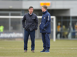 Bristol Rovers Manager Darrell Clarke talks with Lee Mansell of Bristol Rovers - Mandatory byline: Alex James/JMP - 19/03/2016 - FOOTBALL - Rodney Parade - Newport, England - Newport County v Bristol Rovers - Sky Bet League Two