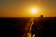Ashgabat, Turkmenistan - 2017 September 22: Prosperity Avenue (former Moscow Avenue) near Ashgabat Olympic Complex while sunrise during 2017 Ashgabat 5th Asian Indoor & Martial Arts Games on September 22, 2017 in Ashgabat, Turkmenistan.<br /> <br /> Mandatory credit:<br /> Photo by © Adam Nurkiewicz<br /> <br /> Adam Nurkiewicz declares that he has no rights to the image of people at the photographs of his authorship.<br /> <br /> Picture also available in RAW (NEF) or TIFF format on special request.<br /> <br /> Any editorial, commercial or promotional use requires written permission from the author of image.