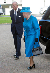 HILLSBOROUGH- N. IRELAND- 23- JUNE-2014: Britain's HM Queen Elizabeth arrives at Hillsborough Castle and has an Audience with the Secretary of State for Northern Ireland, First Minister of Northern Ireland and the Deputy First Minister, and the Chief Executive of Historic Royal Palaces.<br /> Photo by Ian Jones