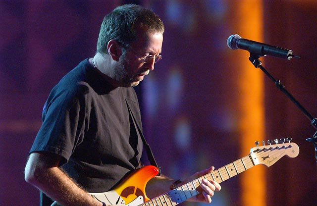 Eric Clapton performing during the BET Walk of Fame show Honoring Stevie Wonder.