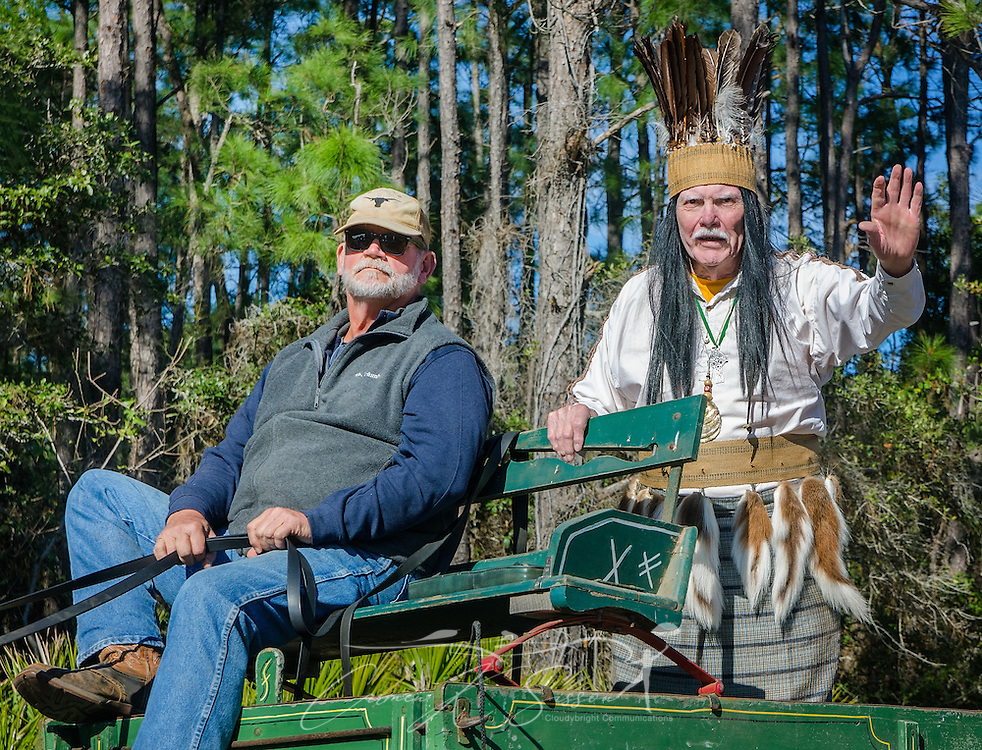 Fictional Chickasaw Indian Chief Slacabamorinico, portrayed by Wayne Dean, is driven down Bienville Boulevard during Dauphin Island's first People's Parade during Mardi Gras, Feb. 4, 2017, in Dauphin Island, Alabama. The Chief Slac character was created by the late Joe Cain, who revived Mardi Gras in Mobile in 1867 after it was temporarily halted by the Civil War. Dean has portrayed the character since 1985. French settlers held the first Mardi Gras in 1703, making Mobile's celebration the oldest Mardi Gras in the United States. The first parade of the season is traditionally held on Dauphin Island and draws thousands. (Photo by Carmen K. Sisson/Cloudybright)