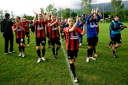 Peter Petran, Saso Ogric, Luka Skrbina, Jaka Ihbeisheh, Dejan Milic, Emir Mehanovic of Primorje celebrate after the football match between NK Primorje Ajdovscina and NK Triglav Gorenjska of Second Slovenian football league, on May 16, 2010 in Vipava, Slovenia. Primorje placed first in 2.SNL and qualified for  PrvaLiga in season 2010/2011. (Photo by Urban Urbanc / Sportida)