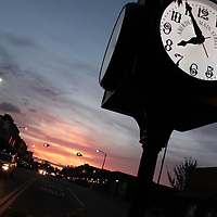 RAY VAN DUSEN/BUY AT PHOTOS.MONROCOUNTYJOURNAL.COM<br /> Cars drive east on Main Street near a clock Aberdeen Main Street purchased in 2013. People associated with the entity voiced frustrations regarding a thought of cutting its budget by $11,000 for the new fiscal year.
