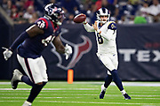HOUSTON, TX - AUGUST 29:  Brandon Allen #8 of the Los Angeles Rams rolls out and throws a pass during a game against the Houston Texans during week four of the preseason at NRG Stadium on August 29, 2019 in Houston, Texas. The Rams defeated the Texans 22-10.   (Photo by Wesley Hitt/Getty Images) *** Local Caption *** Brandon Allen