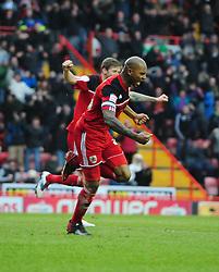 Bristol City's Marvin Elliott celebrates - Photo mandatory by-line: Joe Meredith/JMP - Tel: Mobile: 07966 386802 09/02/2013 - SPORT - FOOTBALL - Ashton Gate - Bristol -  Bristol City V Nottingham Forest - Npower Championship