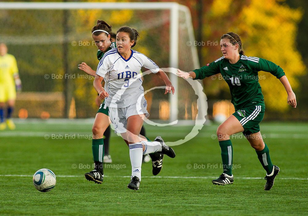 07 October 2011:  Action during a women's soccer game between the University of British Columbia Thunderbirds and the University College of the Fraser Valley at Thunderbird Park, University of British Columbia, Vancouver, BC, Canada.  Final Score:  UBC    UCFV   ****(Photo by Bob Frid/UBC Athletics) 2011 All Rights Reserved****