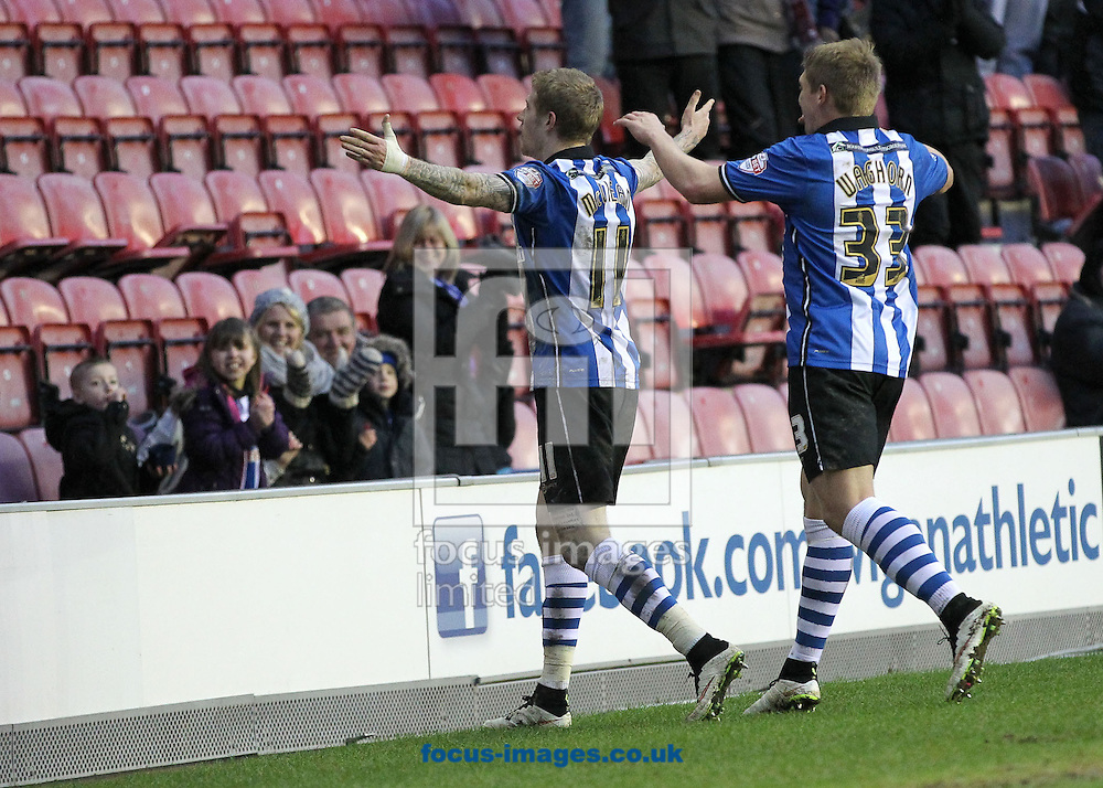 James McClean (11) of Wigan Athletic celebrates scoring the equalising goal against Blackburn Rovers during the Sky Bet Championship match at the DW Stadium, Wigan.<br /> Picture by Michael Sedgwick/Focus Images Ltd +44 7900 363072<br /> 17/01/2015