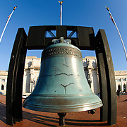 The Freedom Bell, an oversized replica of Philadelphia's famous Liberty Bell, outside Union Station in Washington DC.