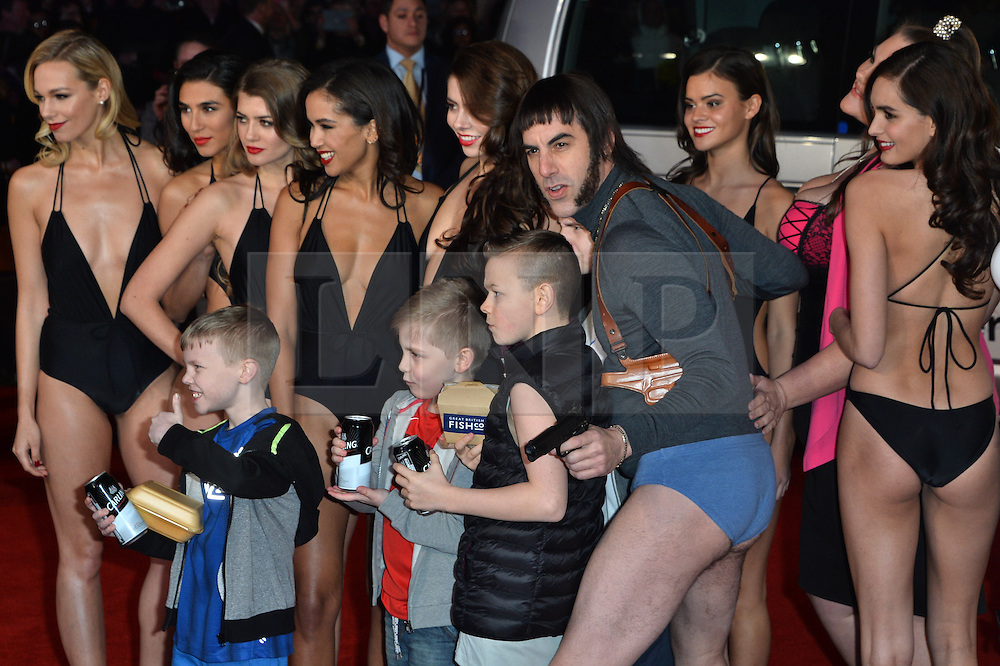 © Licensed to London News Pictures. 22/02/2016. Cast members including SASHA BARON COHEN, MARK STRONG, ISLA FISHER, and REBEL WILSON attend the GRIMSBY Film premiere. The film centres around a black-ops spy whose brother is a football hooligan.  London, UK. Photo credit: Ray Tang/LNP