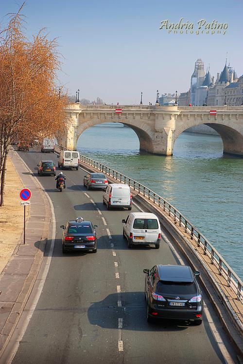 The New Bridge and George Pompidou Expressway along the Seine river, Paris