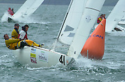 Peter McNeill of Australia rounds the top mark in the final race of the 2002 Waiwera Infinity Water Etchells World Champs 9/11/2002 (© Chris Cameron 2002)
