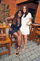 Left to right, MICA PARIS and MEL BLATT at a treasure hunt and dinner hosted by Fiat to celebrate the launch of the Fiat 500 C held at Zuma, Raphael Street, London on 29th June 2009.