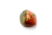 Cutout of an Unakite gemstone on white background