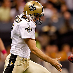 October 3, 2010; New Orleans, LA, USA; New Orleans Saints punter Thomas Morstead (6) punts against the Carolina Panthers during the second half at the Louisiana Superdome. The Saints defeated the Panthers 16-14. Mandatory Credit: Derick E. Hingle