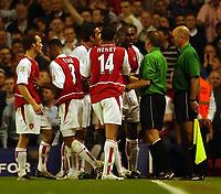 Photo. Javier Garcia<br />16/04/2003 Arsenal v Man Utd, FA Barclaycard Premiership, Highbury<br />Sol Campbell confronts Mike Halsey after his sending off