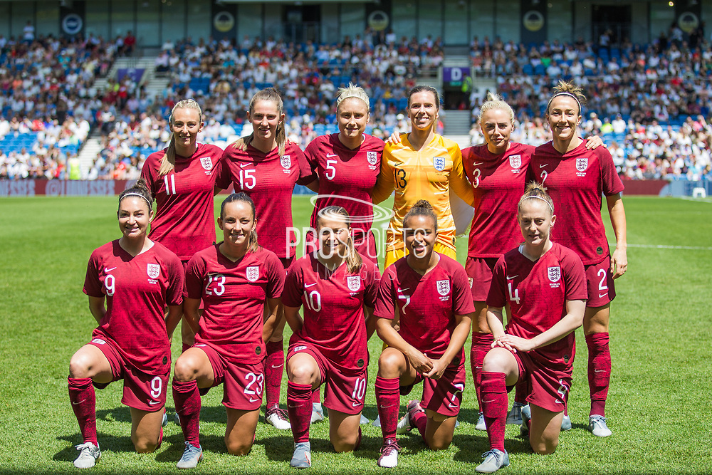 England FC ahead of the FIFA Women's World Cup UEFA warm up match between England Women and New Zealand Women at the American Express Community Stadium, Brighton and Hove, England on 1 June 2019.