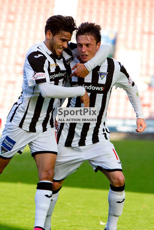 Dunfermline Athletic v Albion Rovers SPFL League One Season 2015/16 East End Park 03 October  2015<br /> Joe Cardle celebrate the opening goal with Faissal El Bahktaoui<br /> CRAIG BROWN | sportPix.org.uk