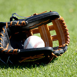 February 19, 2011; Fort Myers, FL, USA; A detailed view of a ball and glove during Boston Red Sox spring training at the Player Development Complex.  Mandatory Credit: Derick E. Hingle