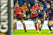 Nathan Fowles (#9) of Edinburgh Rugby runs for goal during the Guinness Pro 14 2018_19 rugby match between Edinburgh Rugby and Isuzu Southern Kings at the BT Murrayfield Stadium, Edinburgh, Scotland on 5 January 2019.