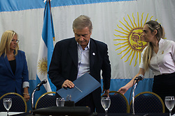 November 17, 2018 - Buenos Aires, Argentina - BUENOS AIRES, AR - 17.11.2018: SUBMARINO ARGENTINO ARA SANJUAN DESCOBERTO - Argentine Defense Minister Oscar Aguad during a press conference in Buenos Aires, Argentina, Saturday, November 17, 2018. 366 days after the submarine Ara San Juan disappeared, the Argentine Navy announced Saturday that the company Ocean Infinity has found the remains of the submarine at 900 meters under the sea. (Credit Image: © Mario De Fina/Fotoarena via ZUMA Press)