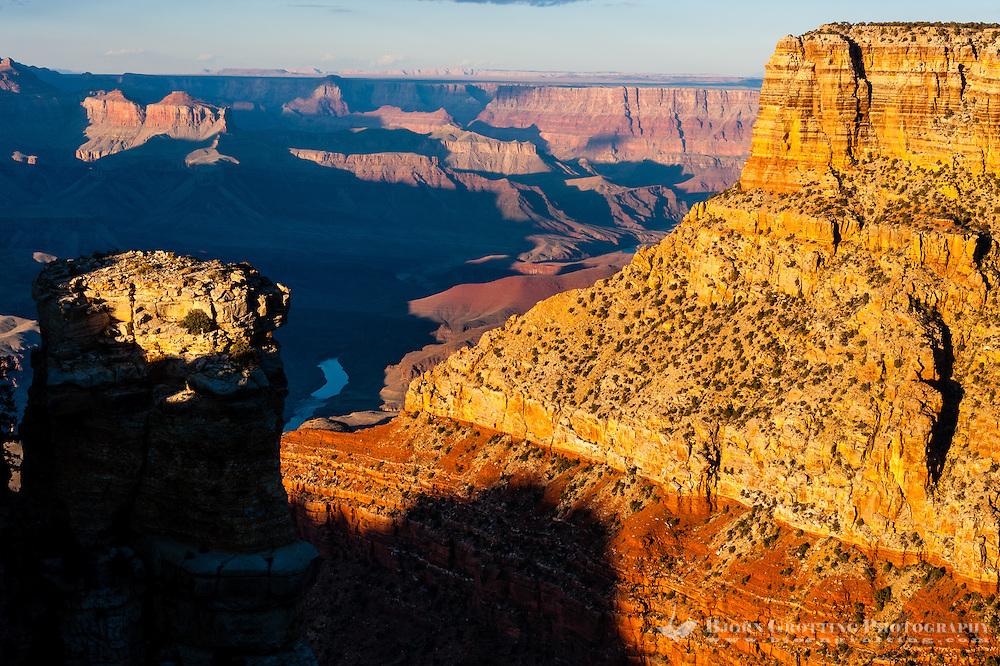 United States, Arizona, Grand Canyon. Lipan Point with views over Seventyfive Mile Creek, Escalante Butte and the Unkar Creek delta.