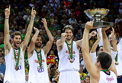 Rudy Fernandez of Spain, Juan Carlos Navarro of Spain, Pau Gasol of Spain, Felipe Reyes of Spain celebrate with a trophy at medal ceremony after the final basketball game between National basketball teams of Spain and France at FIBA Europe Eurobasket Lithuania 2011, on September 18, 2011, in Arena Zalgirio, Kaunas, Lithuania. Spain defeated France 98-85 and became European Champion 2011, France placed second and Russia third. (Photo by Vid Ponikvar / Sportida)