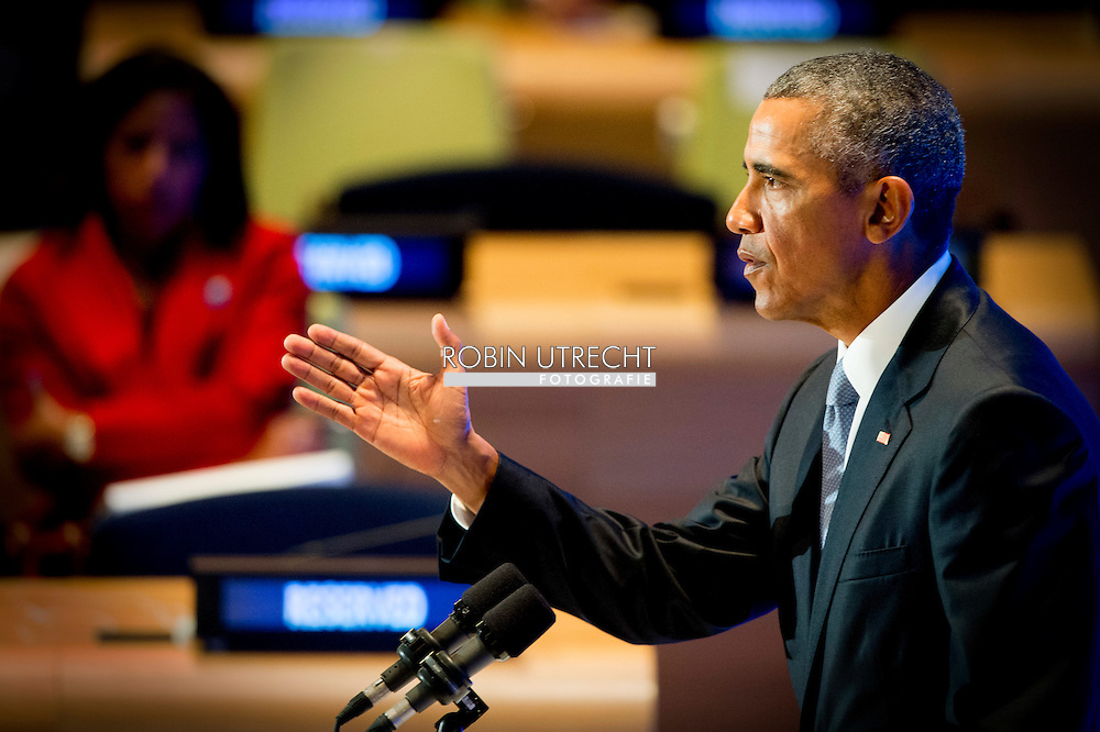 NEW YORK - President Obama  NEW YORK - speech of King Willem Alexander and Queen Maxima arrive at the 70th Session of the UN General Assembly - the United Nations COPYRIGHT ROBIN UTRECHT