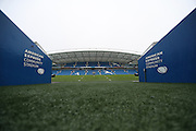 A general view of the stadium from the tunnel entrance during the The FA Cup match between Brighton and Hove Albion and Milton Keynes Dons at the American Express Community Stadium, Brighton and Hove, England on 7 January 2017.