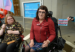 Protesters rallied outside the Scottish Parliament to campaign for trans rights ahead of a debate on broadening the questions in the census by MSP's.<br /> <br /> © Dave Johnston / EEm
