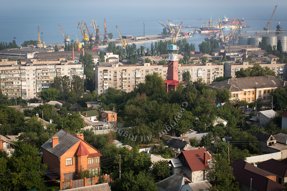 The port of the industrial town of Mariupol, Ukraine, on the Azov Sea, is photographed from the rooftop of a building in construction.