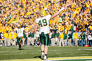 North Dakota State Bison tight end Derek Lee (49) points his finger to the stands to pump up the fans during the FCS title game against Sam Houston State at FC Dallas Stadium in Frisco, Texas, on January 5, 2013.  (Stan Olszewski/The Dallas Morning News)