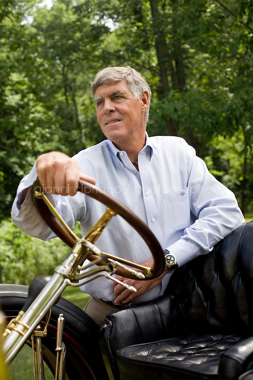 9 July, 2008. Doylestow, PA. Jim Grundy, 54, is here next to the 1909 Pierce Arrow antique car he owns. He is the chief executor of Grundy Worldwide, an insurance company for collectible cars. His father Jim Sr. Jr.  started the business in 1947 and wrote the first antique car insurance policy in 1949. Jim Grundy has been in the business for 28 years and assumed major interest and the presidency 19 years ago. &quot;I own the best pre World War I cars ever manufactured&quot;, Mr. Grundy says. <br /> <br /> &copy;2008 Gianni Cipriano for The Wall Street Journal<br /> cell. +1 646 465 2168 (USA)<br /> cell. +1 328 567 7923 (Italy)<br /> gianni@giannicipriano.com<br /> www.giannicipriano.com