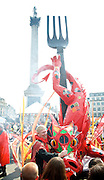 The Mayor's Feast of St George celebrations 2014<br /> Trafalgar Square <br /> London <br /> United Kingdom<br /> 21st April 2014 <br /> <br /> <br /> Atmosphere, colour &amp; fun at the celebrations.