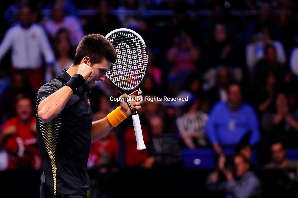 11.11.2012 London, England. Serbias Novak Djokovic celebrates winning against Argentinas Juan Martin del Potro during the first Semi Final of the Barclays ATP World Tour Finals at The O2 Arena.