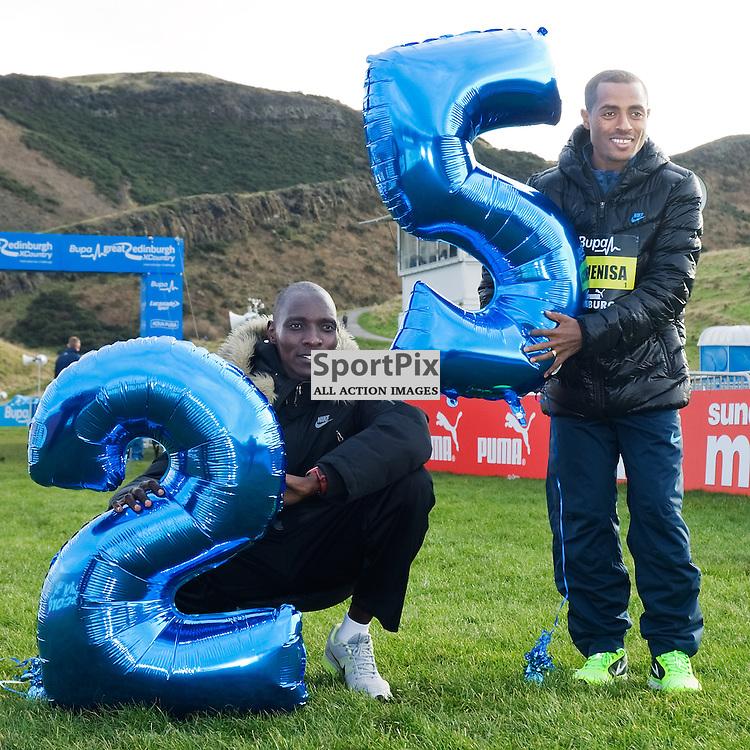 Athletes warm up in Holyrood Park ahead of 2014 Great Winter Run. Asbel Kiprop (KEN) 2013 World 1500m Champion, Kenenisa Bekele (ETH) 2013 Bupa Great North Run Champion. World Record holder 5000m &amp; 10000m warm up in Holyrood Park, Edinburgh ahead of the 25th Anniversary race of the Great Cross Country<br /> (c) JON DAVEY   SportPix.org.uk